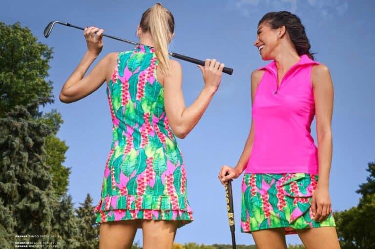 girls playing golf
